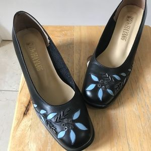 Black Leather Heels with Blue Flower Cut Outs